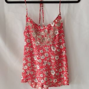 Hollister red floral tank top size small